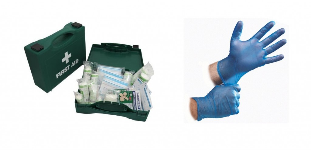 Blue vinyl disposable and First Aid Kit