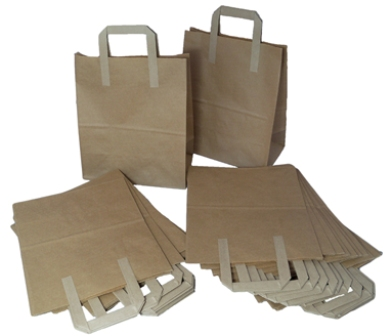 "250 x Kraft Paper SOS Takeaway Food Carrier Bags 8""x4""x10"""