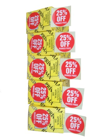 "10,000 x ""25% OFF"" Retail Self Adhesive Price Labels Stickers"