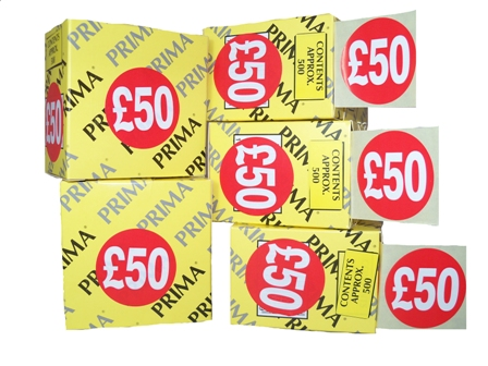 "500 x ""£50"" Retail Self Adhesive Price Labels Stickers"