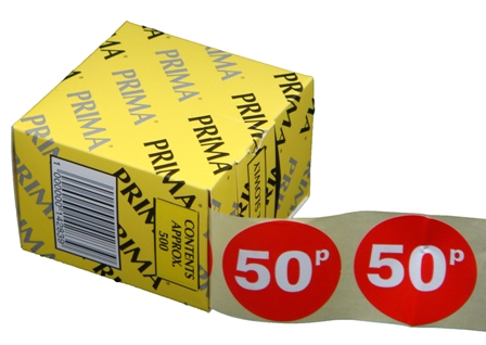 "10,000 x ""50p"" Retail Self Adhesive Price Labels Stickers"