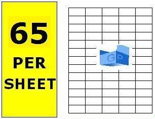 100 x A4 Sheets of Printer Address Labels - 65 Per Sheet