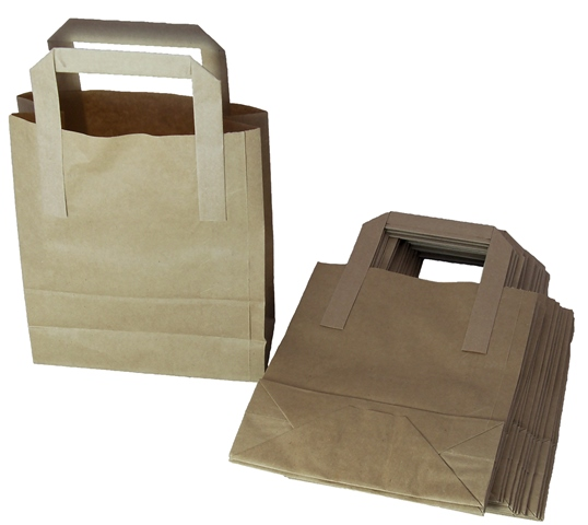 "50 x Kraft Paper SOS Takeaway Food Carrier Bags 7""x3.5""x8.5"""