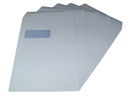 500 x C4/A4 White Window Self Seal Envelopes 324x229mm , 90gsm