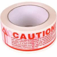 6 x Rolls Of CAUTION Printed Sealing Tape 48mm x 66m