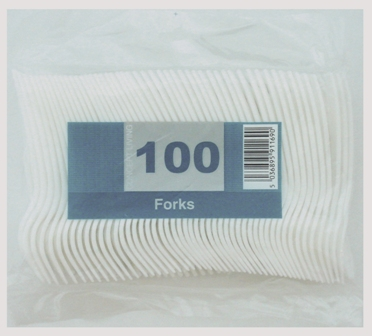 1000 x Economy White Disposable Plastic Forks - Light Duty