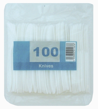500 x Economy White Disposable Plastic Knives - Light Duty