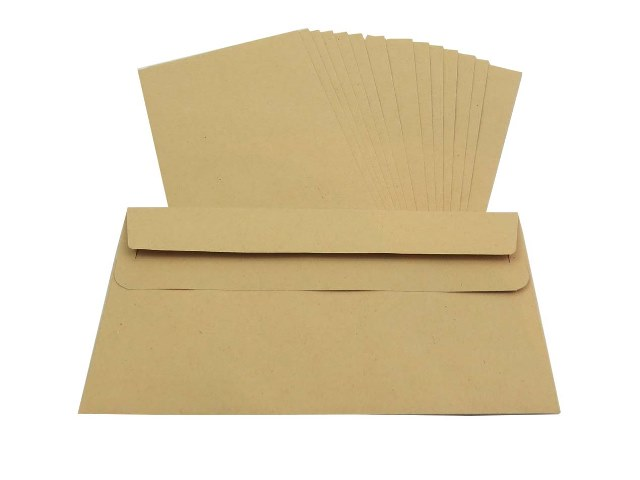 500 x DL Manilla Plain Self Seal Brown Envelopes 110x220mm , 80gsm
