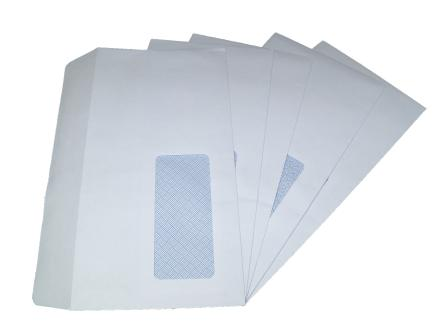 10 x DL White Window Self Seal Envelopes 110x220mm , 80gsm