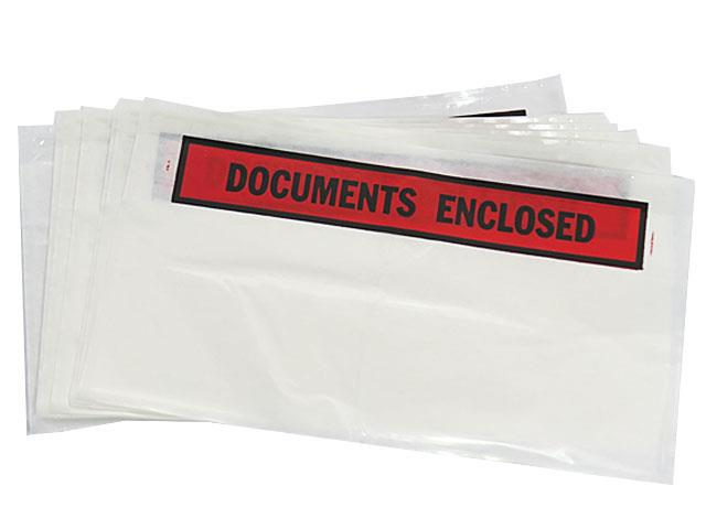 500 x 'DL' Size Printed Document Enclosed Wallets 110mm x 230mm
