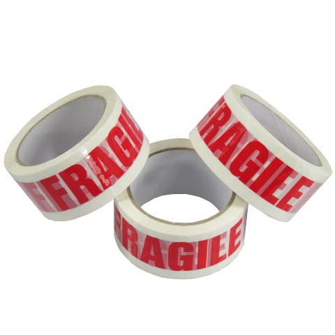 6 x Rolls Of FRAGILE Low Noise Printed Packing Tape 48mm x 66m