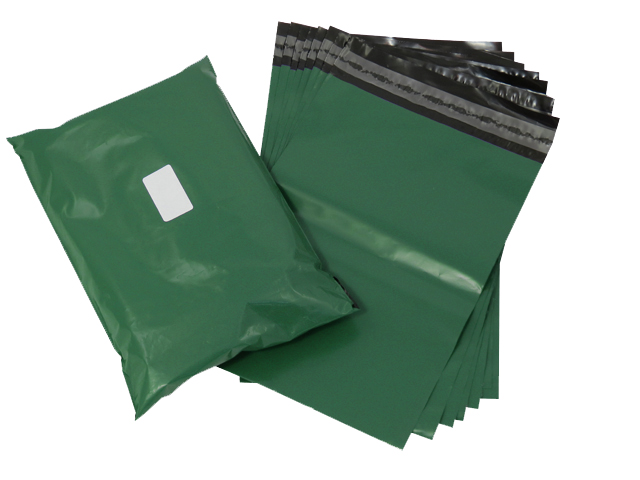"500 x Strong Olive Green Postage Poly Mailing Bags 10"" x 14"" - 250x350mm"