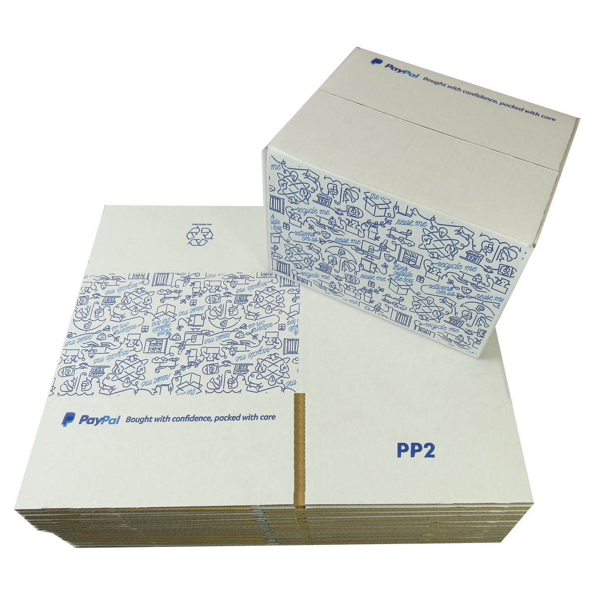 5 x PP2 PayPal Branded Quality White Single Wall Cardboard Postal Mailing Boxes 215x180x135mm