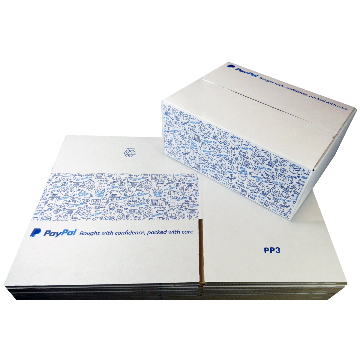 100 x PP3 PayPal Branded Quality White Single Wall Cardboard Postal Mailing Boxes 335x260x135mm