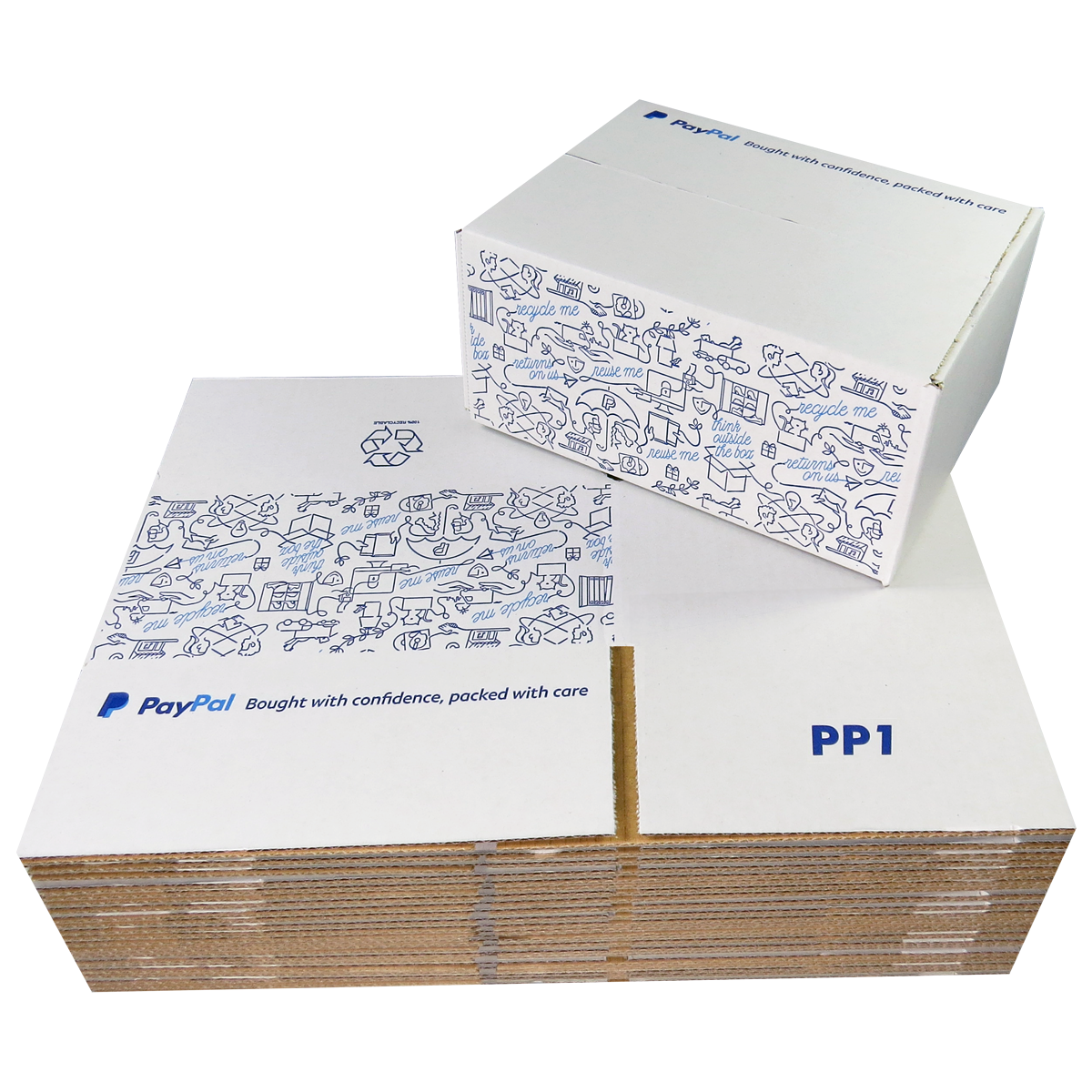5 x PP1 PayPal Branded Quality White Single Wall Cardboard Postal Mailing Boxes 200x150x90mm
