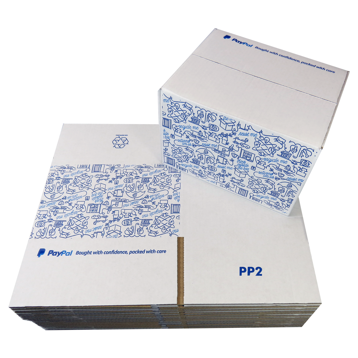 500 x PP2 PayPal Branded Quality White Single Wall Cardboard Postal Mailing Boxes 215x180x135mm