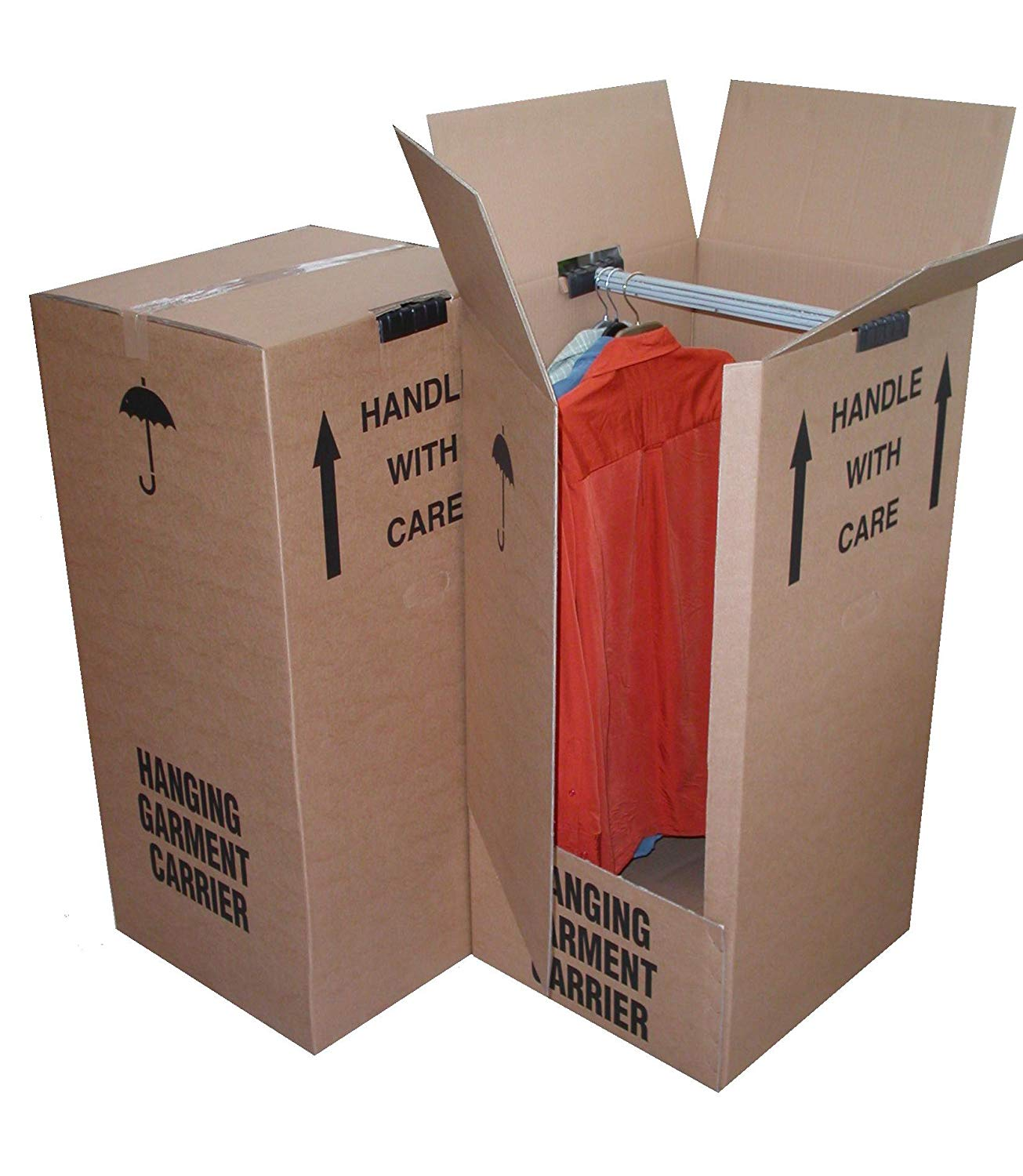 3 x Large Strong Wardrobe/Garment Double Wall Removal Boxes - 508mm x 485mm x 960mm