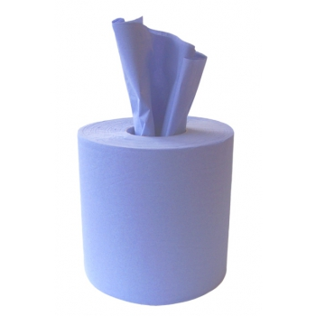 1 x Blue 2 PLY Embossed Centrefeed Paper Towel Roll