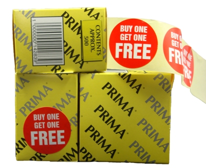 "10,000 x ""BUY ONE GET ONE FREE"" Retail Self Adhesive Price Labels Stickers"