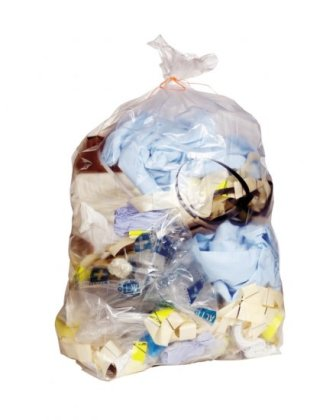 50 Economy Clear Refuse Sacks, 120 Gauge - 18