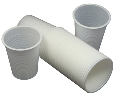 100 x White Disposable Plastic Cups Glasses 7oz (190ml)