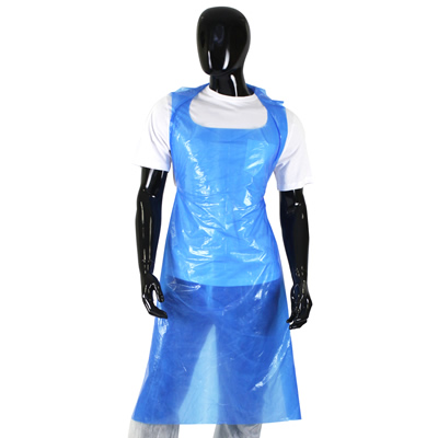 100 x Disposable Blue Polythene Aprons 27x42