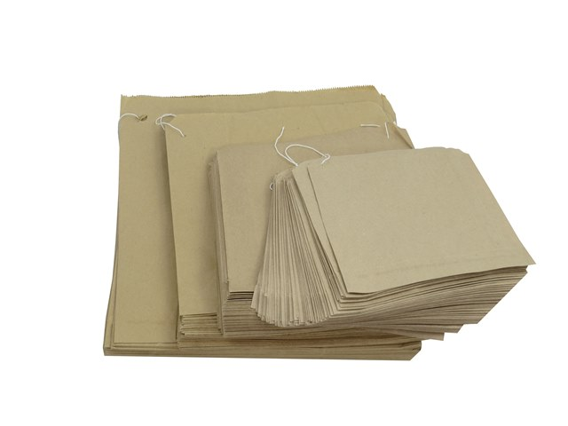 "200 x Brown Strung Kraft Paper Fruit Food Bags 12.5""x12.5"""