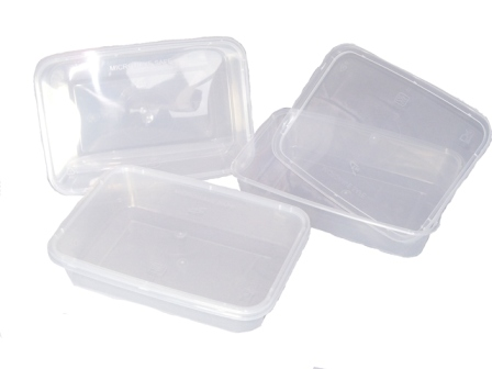 250 X Plastic 500ml Microwave Food Takeway Containers
