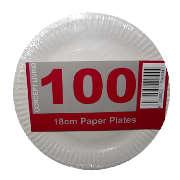 100 x Economy White Disposable Paper Plates 18cm - Light Duty
