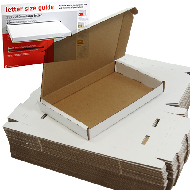 25 x White PIP Royal Mail MAXIMUM LARGE LETTER SIZE Postal Cardboard Boxes 349x249x24mm (LLWHT2)