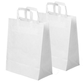 "500 x Small White Kraft Paper SOS Takeaway Food Carrier Bags 7""x3.5""x8.5"""