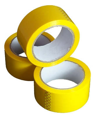 12 Rolls of Yellow Coloured Low Noise Packing Tape 50mm x 66m
